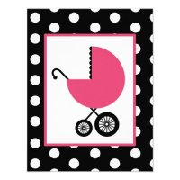 """Girl Baby Shower - Pink Carriage & Polka Dots 4.25"""" X 5.5 ..."""