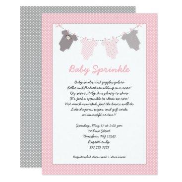 Girl baby sprinkle clothesline invitation