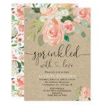 Girl baby sprinkle peach floral rustic kraft invitation
