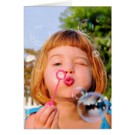 Girl Blowing Bubbles Card