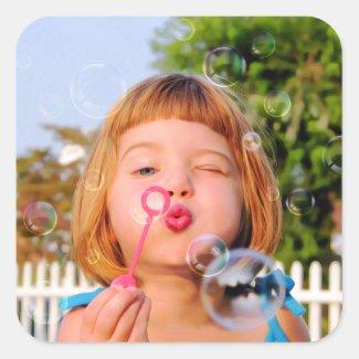 Girl Blowing Bubbles Square Sticker