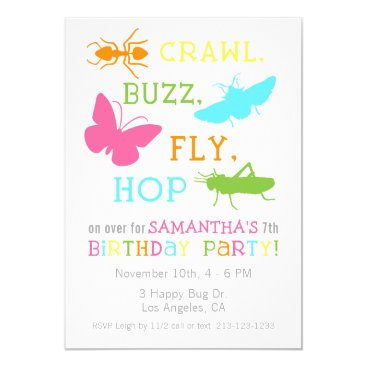 Girl Bug Insect Birthday Party Invitation