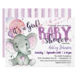 Girl Elephant Baby Shower Purple, Lavender Invitation