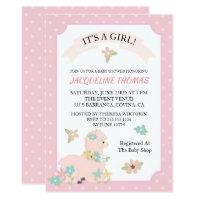 Girl Llama Baby Shower Invitation