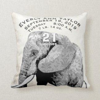 Girl Nursery Baby Birth Stat Elephant Arrows Throw Pillows
