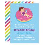 Girl on Doughnut Float Birthday Party Invitations