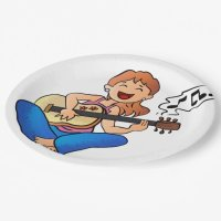 girl playing guitar paper plate | Zazzle
