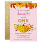Girl Pumpkin Fall First Birthday Gold Glitter Invitation