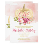 Girl Pumpkin Pink Gold First Birthday Watercolor Invitation