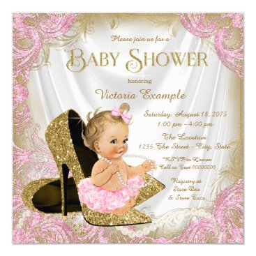Girl Shoe Pink Gold Glitter Pearl Baby Shower Invitation