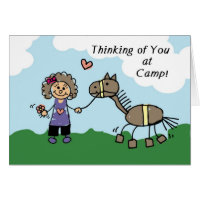 Girl Stick Figure Horse Camp Thinking of You Card