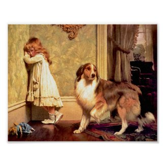 Girl with Pet Sheltie: