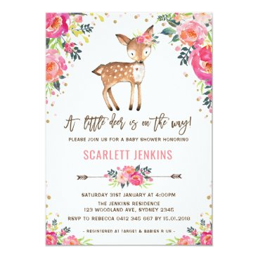 Girl Woodland Deer Baby Shower Invitation Floral