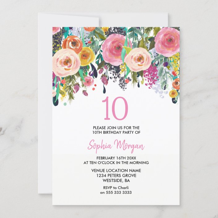 girls 10th birthday party invite pink flowers zazzle com