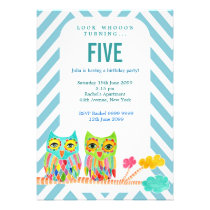 Girls Birthday Party Chevron Rainbow Owls Invite
