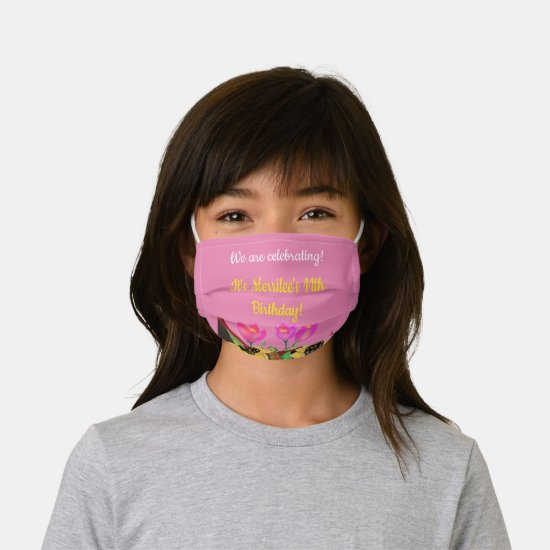 Girls Birthday Pink Cloth Face Mask w Filter Slot
