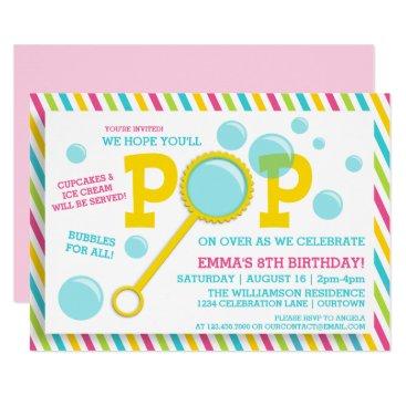 Girl's Bubble Party Birthday Invitation