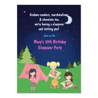 Girls Camping Sleepover Birthday Party Invitation
