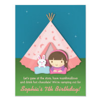 Girls Camping Sleepover Birthday Party invitations