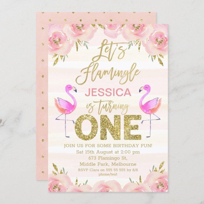 girls floral flamingo first birthday invitation zazzle com