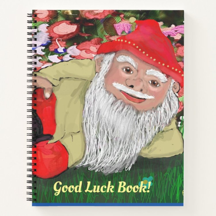 Girls Good Luck Quote Lucky Gnome Floral Notebook