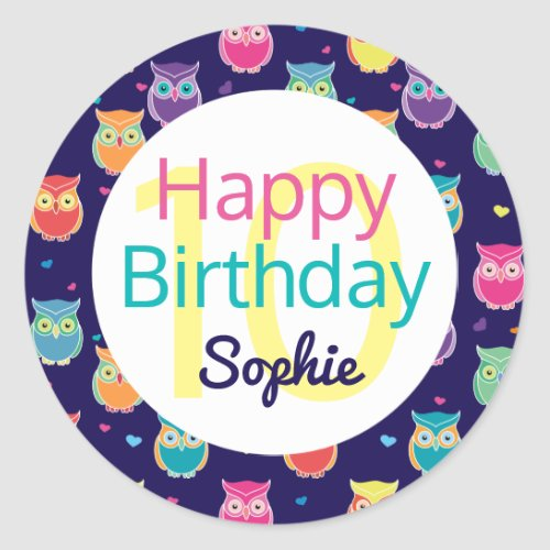 Girls Happy Birthday Blue Owl Pattern Personalized Classic Round Sticker