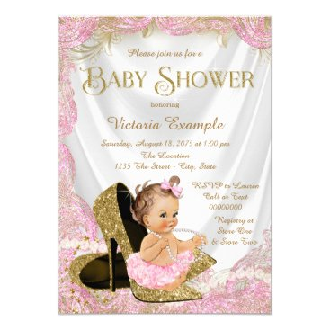Girls High Heel Shoes Pearls Baby Shower Invitation