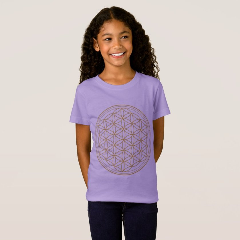 Girls Lavender Flower Of Life T-Shirt
