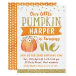 Girls Little Pumpkin 1st Birthday Invitation
