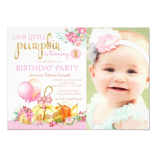 Girls Little Pumpkin Photo First Birthday Invitation
