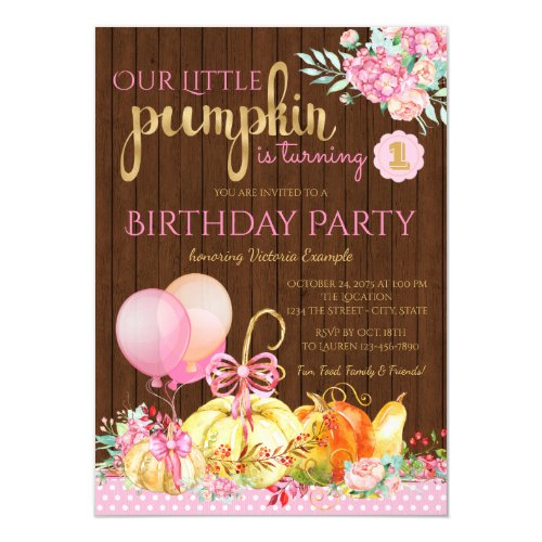 Girls Little Pumpkin Rustic Wood 1st Birthday Invitation