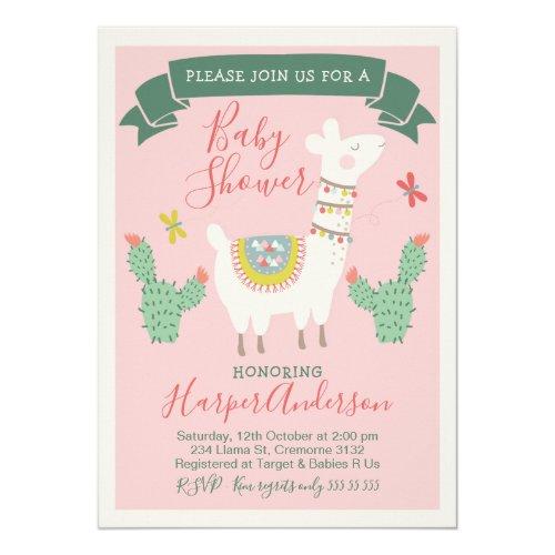 Girls Llama And cactus Baby Shower Invitation
