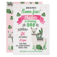 Girls Llama Birthday Invitation