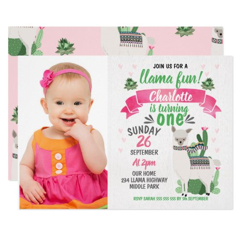 Girls Llama Photo Birthday Invitation