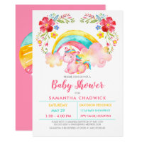 Girls Magical Unicorn Baby Shower Invitation