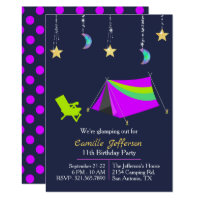 Girls Neon Tent Glamping Birthday Invitation
