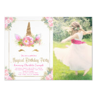 Girls Photo Unicorn Face Birthday Party Invitation