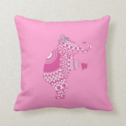 Girl's Pink Princess Cute Elephant American MoJo P Pillow