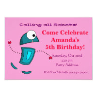 Girls Robot Birthday Party Invitations Pink
