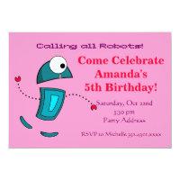 Girls Robot Birthday Party Invitations Pink