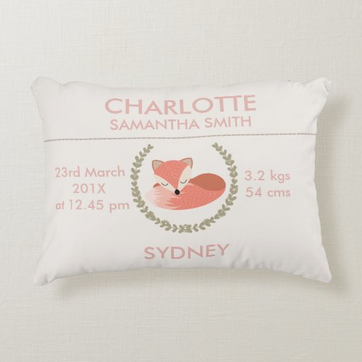 Girls Sleeping Fox Birth Announcement Cushion Accent