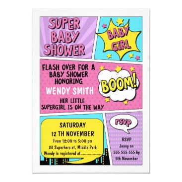 Girls Superhero Baby Shower Invitation