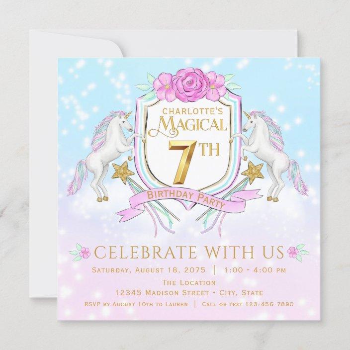 girls unicorn 7th birthday party invitations zazzle com