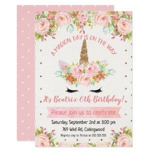 S Unicorn Birthday Invitation