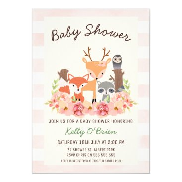 Girl's Woodland Baby Shower Invitation