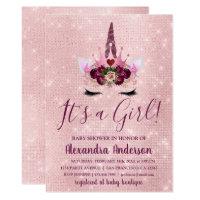 Girly Blush Pink Sparkle Unicorn Baby Shower Card