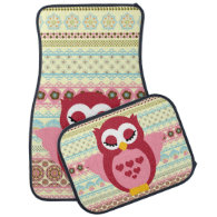 Girly Cute Sleepy Owl Car Mat