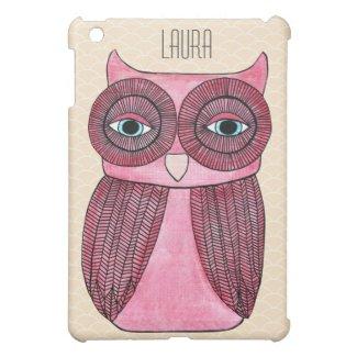 Girly Funky Modern Owl Personalized IPAD Mini Case