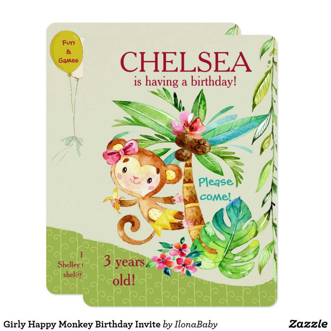 Girly Happy Monkey Birthday Invite