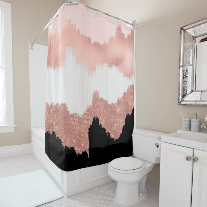 girly modern rose gold pink glitter brushstroke shower curtain zazzle com